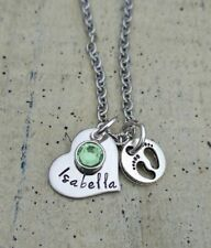 Mother Necklace Baby Child's Name heart footprint Birthstone Mom shower Gift