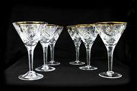 SET OF 6 Crystal Martini Vermouth Glasses 4.7 fl oz (140 ml)  Hand-made Gold Rim
