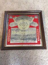 Vintage RARE Budweiser Cerveza Mirror Bar Sign Beautiful Carved Wood Frame NICE