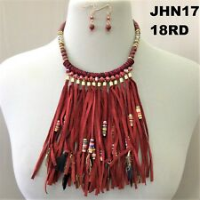 Feather Beads Necklace & Earrings Bohemian Style Burgundy Faux Leather Tassel