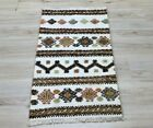 "Bohemian Flatweave White Doormat Rug Cappadocia Vintage Kilim Carpet 20""x41"""
