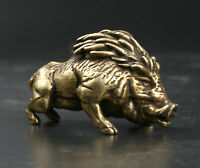 54MM Collect Chinese Fengshui Bronze Boar Wild Amulet Pendant Statue