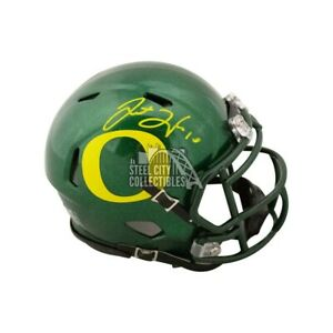 Justin Herbert Autographed Oregon Ducks Green Speed Mini Football Helmet BAS COA