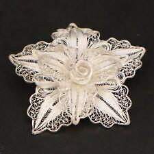 VTG Sterling Silver - Filigree Star Flower Floral Brooch Pin - 9.5g