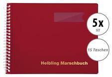5x Helbling BMR15 Marschbuch rot 15 Taschen Marsch Noten Mappe Musik Spirale