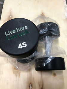 Lot Of 2 Live Here Live Well Round Urethane 45LB Dumbbells Brand New