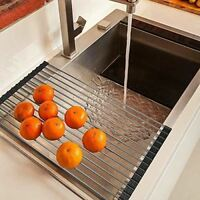 Over the Sink Multipurpose Roll-Up Dish Drying Rack Pan Bottle Food Drainer Mat