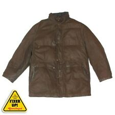 Beretta Sport Italy Mens Coat Brown Leather Suede Heavy Winter Jacket size XL