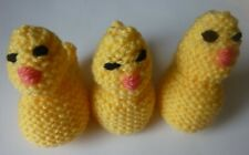 3 HAND KNITTED EASTER CHICKS CHOCOLATE CREME EGG COVERS