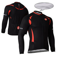 New Mens Long Sleeve Jersey Race Fit Cycling Clothing Winter Thermal Fleece Wear