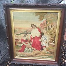 19th Century Tapestry Needlepoint Embroidery - Jesus Christ Religious Scene