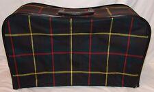 Vtg Canvas Suitcase Travel Bag Blue Plaid Suit Case Luggage