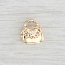 Authentic Pandora Charm 750340D Diamond Purse Bead 14k Gold Hand Bag