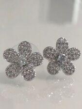 Round Diamond Cluster Pave Flower Design Stud Earrings 14K White Gold Finish