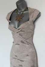 Karen Millen UK 14 Silver Jacquard Print Cap Sleeve Cocktail Party Dress EU 42