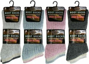 3 Ladies Chunky Non Elastic Wool Blend Padded Sole Walking Boot Socks UK 4-8