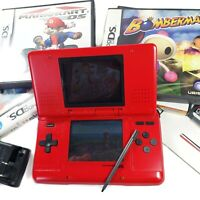 Nintendo DS Original Red Handheld Console Bundle w/ Charger + 6 Games | WORKING!