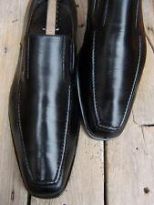 SANTONI Mens Dress Shoes Soft Elegant Black Slip On Italian Loafer Sz Size 9EE