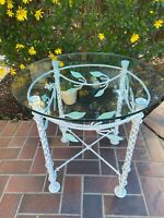 Vintage Painted Wrought Iron Side Table