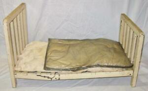 Vintage Doll Bed Cream White with 2 Mattresses Furniture Large 1950s O4 AS IS