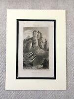 1830 French Chateau de Foix Castle France Genuine Antique Engraving Print