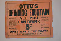 """VINTAGE MINERAL WATER FOUNTAIN SIGN! 'ALL YOU CAN DRINK 5¢'! 14x11"""" CARDBOARD!"""