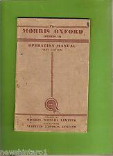 MORRIS OXFORD SERIES II  GLOVEBOX OPERATORS  MANUAL, 1st  EDITION