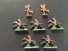 7 Vintage John Hill & Co Lead Native American Red Indians 5 on Horses Tomahawks
