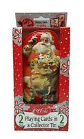 COCA COLA Christmas Santa w/ Collector's Tin 2 Decks of Bicycle Playing Cards