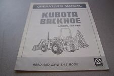 Kubota Operator's Manual Backhoe Model BT650