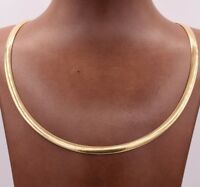5mm Italian Reversible Omega Chain Necklace 14K Yellow Gold Clad Silver 925