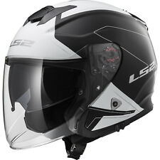 LS2 OF521 Infinity Beyond Black White Open Face Motorbike Helmet Sun Visor Urban