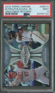 2019 Topps Chrome Greatness Returns Ronald Acuna Jr. Mike Trout PSA 9 Mint