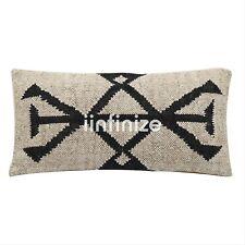 2 PC Kilim Pillow Cover Handwoven Wool Jute Hippie White Cushion Case Bohemian