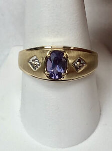 10K Yellow Gold Vintage Gents Alexandrite Ring Size 10.5