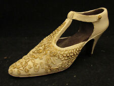 """Resin Ladies Shoe Collectible Off White with Gold Fancy Work High Heal 4"""" long"""