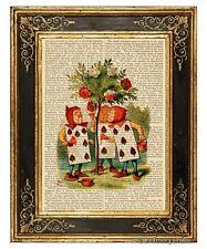 Alice in Wonderland Art Print on Antique Book Page Vintage Illust Rosebush Color