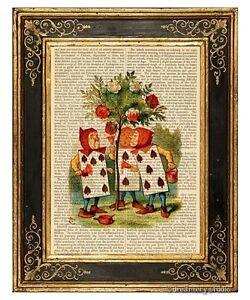 Alice in Wonderland Art Print on Vintage Book Page Story Book Rosebush Color