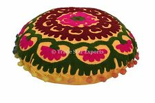 "16"" Round Suzani Cushion Cover Indian Embroidered Decorative Throw Pillow Cases"