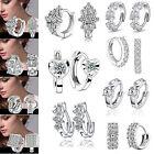 Fashion Women's Crystal 925 Silver Plated Ear Stud Hoop Earrings Jewelry Gifts