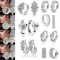 Elegant Women 925 Sterling Silver Ear Stud Crystal Rhinestone Hoop Earrings S15