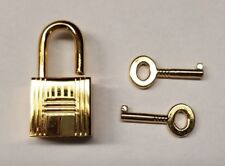 Bright Brass (gold) Small Steel PadLock With Keys 18MM doll bike jewelry box