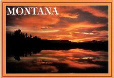 Montana Sunset Postcard Water Sky Clouds Trees Orange Beautiful New