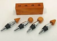 4 MCM Style Wood Chrome Rubber Stainless Wine Bottle Stoppers Turned Wood Holder