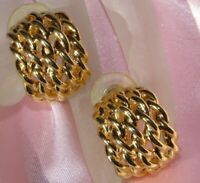 VINTAGE COSTUME JEWELRY GOLD TONE WOVEN HALF HOOP PIERCED EARRINGS