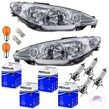 SET Peugeot 206 Scheinwerfer Re. Li. H7/H7 98-07 Klarglas+8tlg. BIRNEN +GARANTIE
