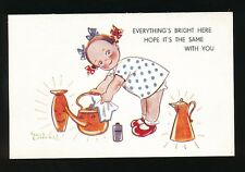 Children artist PHYLLIS COOPER Child cleaning pots c1920/30s? PPC