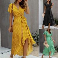 ❤️ Women's Polka Dot Ruffles Maxi Long Dress Summer Party V Neck Wrap Sundress