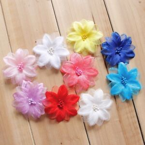 50PCS Artificial Tulle Fabric Flower Petals Wedding Dress Bridal Veil Hair Decor