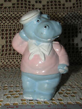 "Hippo Wearing Sailor Suit Coin Bank Vintage w Stopper Classic Plastic 6.5""Tall"